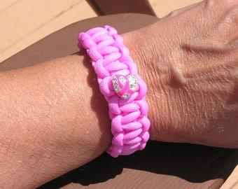 Breast Cancer Support Paracord Bracelet, Women's/Men's, Light Pink, Support Team, M