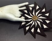 Dark Brown and Cream Striped Pinwheel Cocarde Cockade With Vintage Filligree Button