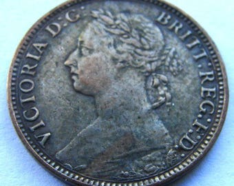 1882 QUEEN VICTORIA FARTHING Great Britain Antique bronze Coin