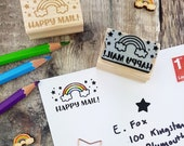 Rainbow Happy Mail Rubber Stamp  - Packaging Stamp -  Small Business Stamper Stationery - Supplies - Happy Post - Branding - Envelope
