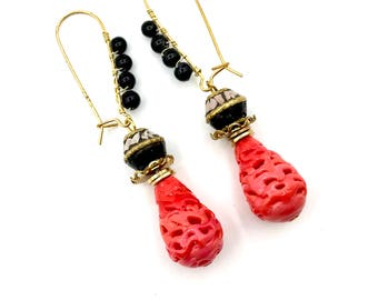 Pink Coral Molded Glass Earrings