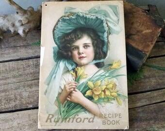 Rumford Recipe Book - 1913 Home Recipe Booklet - Antique Paper Ephemera