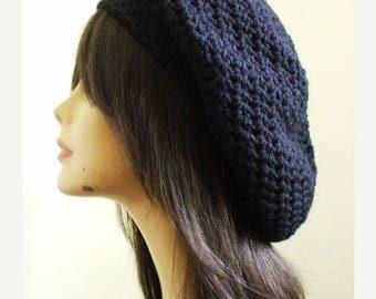 My Pretty Crochet Slouchy Hat Beret Tam Women Winter Hat BLACK Men Slouch Hat Women Ready to Ship