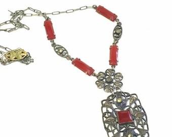 CIJ SALE Christmas JULY Elegant French Art Nouveau Art Deco Open Back Carnelian Art Glass Vintage Filigree Necklace Art Nouveau Jewelry