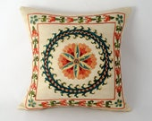 Medallion suzani pillow cover, Gorgeous work of craftsmanship 12x12 size suzani pillow cover, fully handmade embroidery, on silk foundation