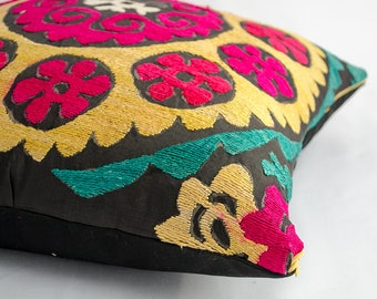 An old antique suzani pillow cover, 16x16 inches square suzani pillow cover, handmade silk embroidery from vintage suzani, red yellow pillow