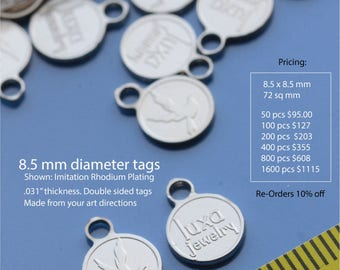 8.5 mm round custom double sided metal tags for jewelry and crafts