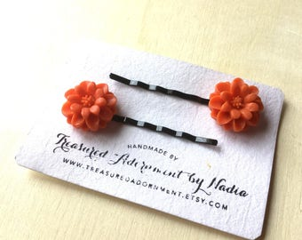 READY TO SHIP, Halloween Hair pins, Orange Mum Flower Hair pins, Black Bobby pins, children baby hair accessories, Costumes, Hair pins