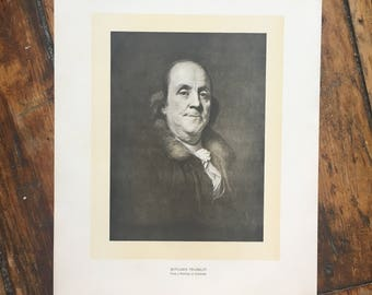 C. 1904 - BENJAMIN FRANKLIN PORTRAIT original antique historic portraiture lithograph - great American
