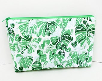 Zippered Make Up Bag, Green Monstera Leaves, Tropical Cosmetic Zipper Pouch