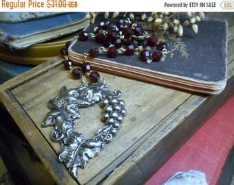 SALE Vulpes in the Vineyard Necklace.  Merlot colored vintage Lucite Crystal Rosary chain & antiqued silver grapevine and fox head pendant.