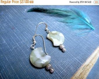 SALE The Moss Moon Earrings. Moss green & cream Ocean Jasper Crescent Moons and Sterling silver earrings.