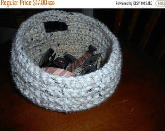 SALE Handmade Crochet Wool Blend Oatmeal Catch All Basket for door handle or shelf