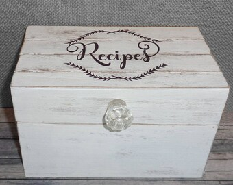 Farmhouse Recipe Box Shabby Chic Cottage Style Personalized with Shiplap wood lid