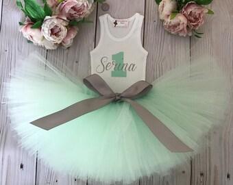 Mint Birthday Tutu Dress   Baby Girls Personalized Dress   Baby Girls Name Dress   1st Birthday Dress   Baby Girls Christmas Dresses