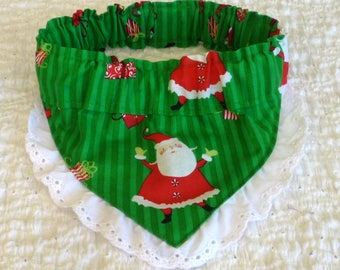 "Dog Bandana, Dog Scrunchie, Dog Collar, Waving Santa Bandanchy with scalloped eyelet lace - Size M: 14"" to 16"" neck"