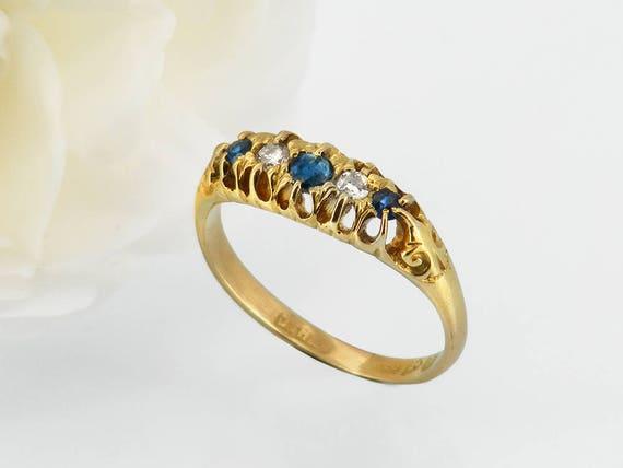 Antique Engagement Ring | Blue Sapphire & Diamond Ring | Edwardian 18ct Gold Antique Ring 1907 Hallmark - US Ring Size 7 1/4, UK Size O 1/2