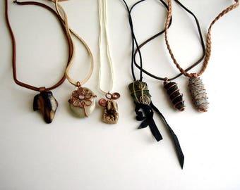 Beach stone necklace, Pebble jewelry, pendant necklace, Leather Primitive Beach Rock Necklace