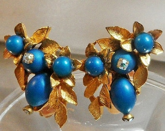 SALE Vintage Teal Blue Rhinestone Earrings. AB Rhinestones. Gold Leaves.