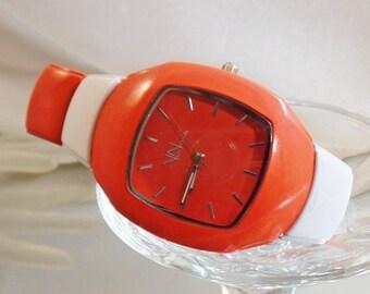 SALE Vintage Orange White UT Watch. Women's Watch.  Via Nova.  University of Tennessee Watch.