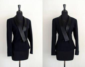 Vintage 1990's Beaded Blazer / 90's Glam Kasper for A.S.L. Black Wool Tuxedo Style Structured Jacket