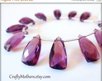 8% off SHOP-WIDE, AAA Amethyst Purple Hydro Quartz Faceted Pyramid Briolettes, (1) Matched Pair (1) Focal, 9mm x 16mm