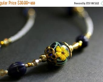 SUMMER SALE Beaded Floral Eyeglass Holder. Hibiscus Badge Lanyard. Navy Blue Handmade Lanyard. Dark Blue and Yellow Eyeglass Chain. Beaded I