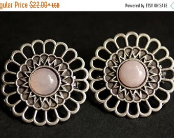 BACK to SCHOOL SALE Set of Two Viking Brooches Rose Quartz Shoulder Brooches in Aged Silver Pink Norse Apron Pins Viking Jewelry Historical