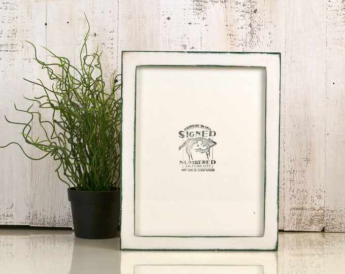 8.5 x 11 Picture Frame in 1x1 Flat Style with Vintage Peacock under White Finish - IN STOCK Same Day Shipping - 8.5x11 Green Picture Frame