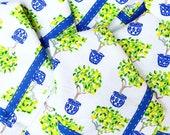 Blue and White Lemon Topiary Monogram Napkins