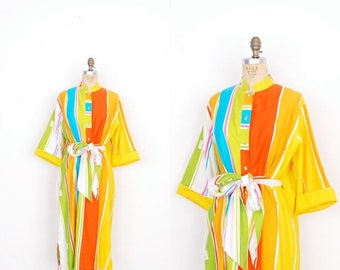 MEMORIAL WEEKEND SALE... Vintage 1980s Dress / 80s Catherine Ogust Striped Cotton Tunic / Orange and Yellow (S M L)