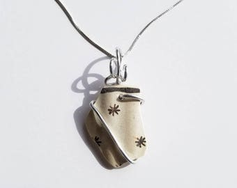 Brown Star Mochaware Sea Pottery Necklace handmade with sterling Chain and silver aluminum bale