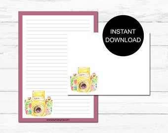 Stationery Set | floral camera | letter writing set | digital | instant download | printable