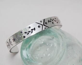Stamped Aluminum Cuff Bracelet . Boho Design Artisan Bracelet