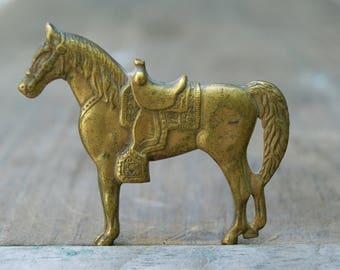 Vintage Large Brass Horse Pin . Detailed Pin . Beautiful Horse Pin