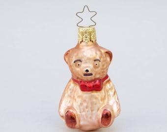 Vintage Christmas Glass Ornament Bear West Germany Glass Ornament  . Brown Bear .