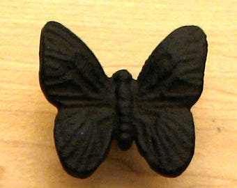 "FREE SHIPPING 12 Drawer Pulls Knobs Butterfly 1-3/4"" Cast Iron"