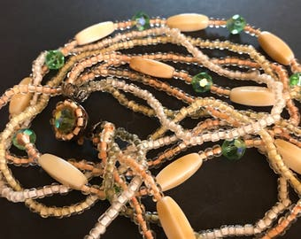 Vintage 4 strand glass beaded necklace choker 1920s encrusted clasp