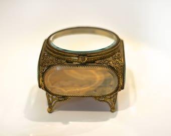 Vintage Ormolu Gold Filigree Beveled Glass Vitrine Jewelry Casket Trinket Box Antique Rare French Victorian Beveled Glass Jewelry Box
