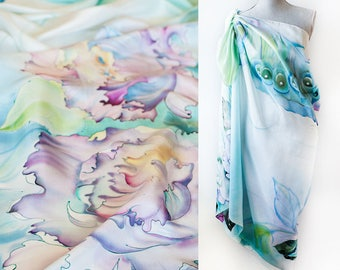 Silk Sarong Hand Painted Silk Shawl Peonies And Butterflies Ready To Ship