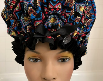 XL Machine Washable Shower Cap Natural Hair Dreads African Inspired Print