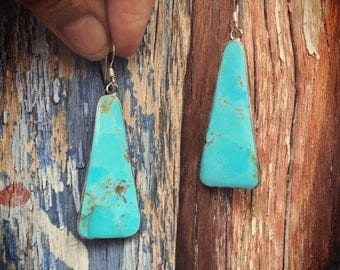 Silver and Turquoise Slab Earrings Gift for Her, Long Dangle Earrings, Southwestern Jewelry
