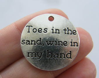 2 Toes in the sand, wine in the hand charms antique silver tone M902