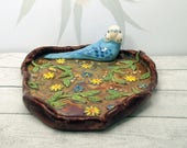 Rustic blue budgie trinket dish or teaspoon holder high relief organic shaped trinket dish flowers Anita Reay tea bag holder / budgerigar