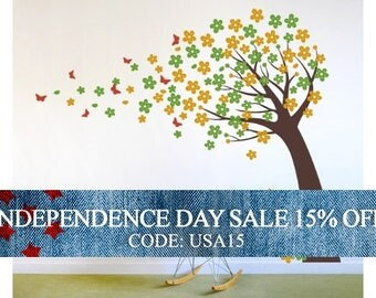 Independence Day Sale - Blowing Cherry Blossom Tree with Butterflies - Vinyl Wall Decals