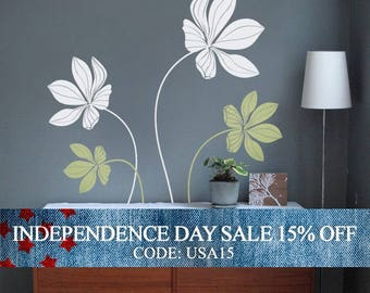 Independence Day Sale - Cyclamen Flower Set Decal - Vinyl Wall Decals