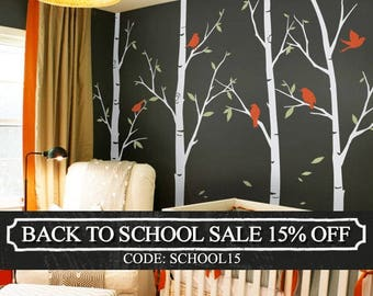 Thin Birch Tree Wall Decals Sticker Set