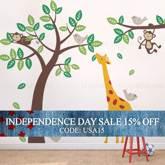 Independence Day Sale - Wall Decal Kid Children wall decals - Monkey Giraffe and Birds Tree and Branch Set