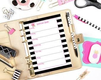 Personal Planner Inserts / Workout Goals / Workout Insert / Printable Insert / Planner Pages / Printable Pages / Fitness Goals List