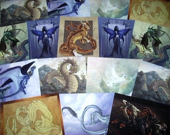 Sixteen (16) Fantasy Postcards by Neon Dragon Art